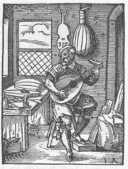 The lute was adopted from the Arab world. 1568 print.