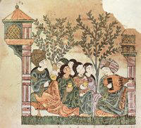 Bayad plays the oud to The Lady. from the Riyad & Bayad , Arabic tale